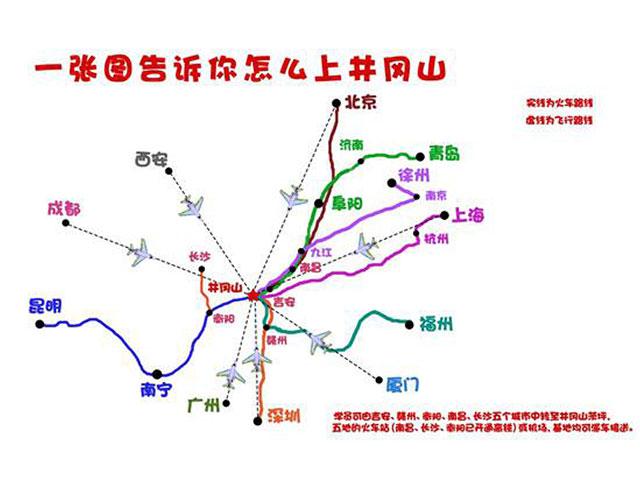 赴井冈山参考线路,具体以实际为准